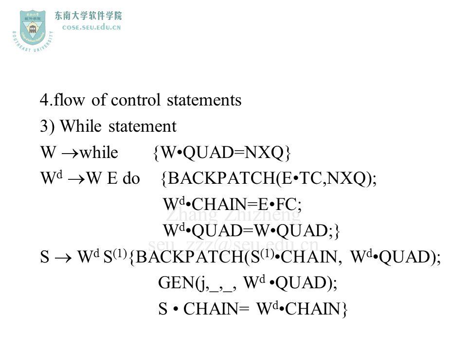Zhang Zhizheng seu_zzz@seu.edu.cn 4.flow of control statements 3) While statement W  while {WQUAD=NXQ} W d  W E do {BACKPATCH(ETC,NXQ); W dCHAIN=EFC