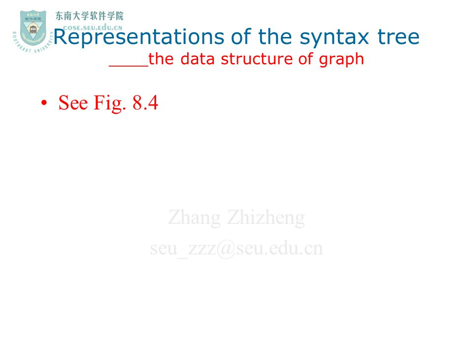 Zhang Zhizheng seu_zzz@seu.edu.cn 3.The translation scheme for addressing array elements 2) Rewriting of the grammar A  V:=E V  Elist] | i Elist  Elist (1),E | i[ E E  E op E | (E) | V Notes: This rewriting aims that the various dimensional limits n j of the array be available as we group index expressions into an Elist.