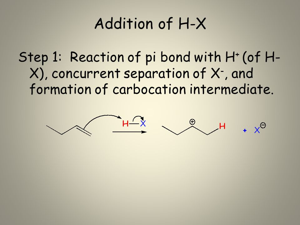 Addition of H-X Step 1: Reaction of pi bond with H + (of H- X), concurrent separation of X -, and formation of carbocation intermediate.