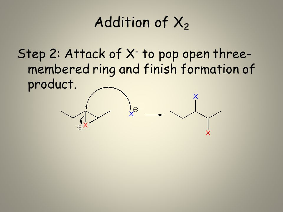 Addition of X 2 Step 2: Attack of X - to pop open three- membered ring and finish formation of product.