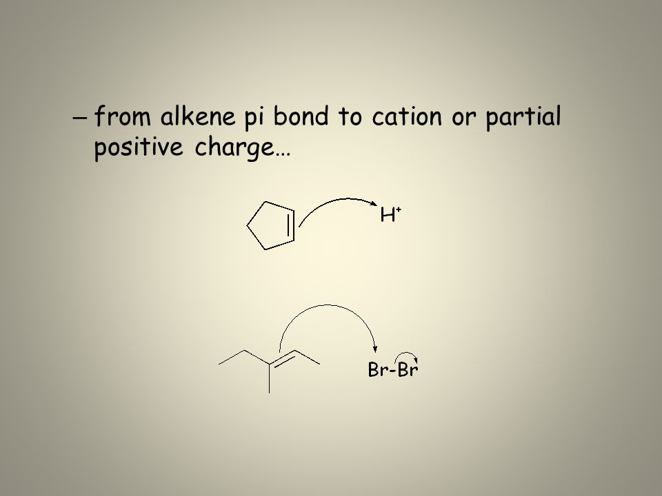 – from alkene pi bond to cation or partial positive charge…