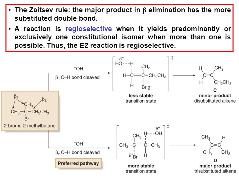 23 The Zaitsev rule: the major product in  elimination has the more substituted double bond. A reaction is regioselective when it yields predominantl