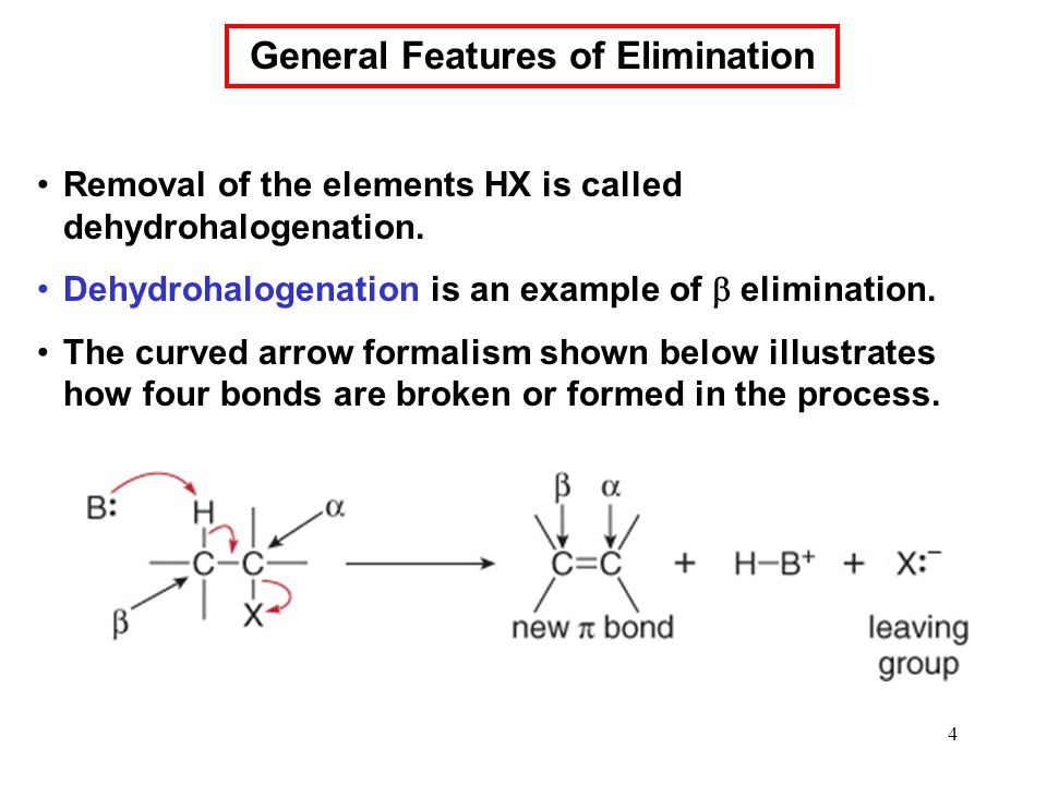 4 Removal of the elements HX is called dehydrohalogenation. Dehydrohalogenation is an example of  elimination. The curved arrow formalism shown below