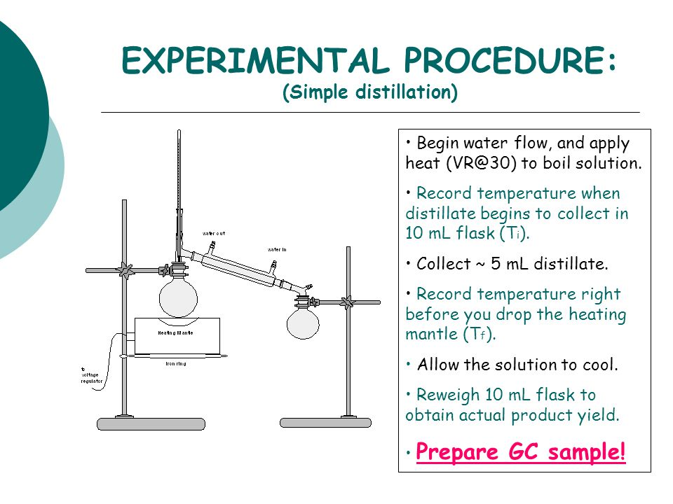 EXPERIMENTAL PROCEDURE: (Simple distillation) Begin water flow, and apply heat (VR@30) to boil solution. Record temperature when distillate begins to