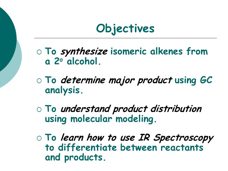 SAFETY CONCERNS The alcohol and resulting alkenes are extremely flammable.
