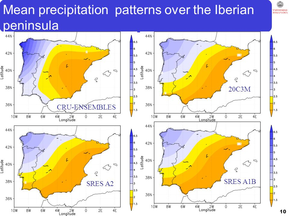 Mean precipitation patterns over the Iberian peninsula 10 CRU-ENSEMBLES 20C3M SRES A2 SRES A1B