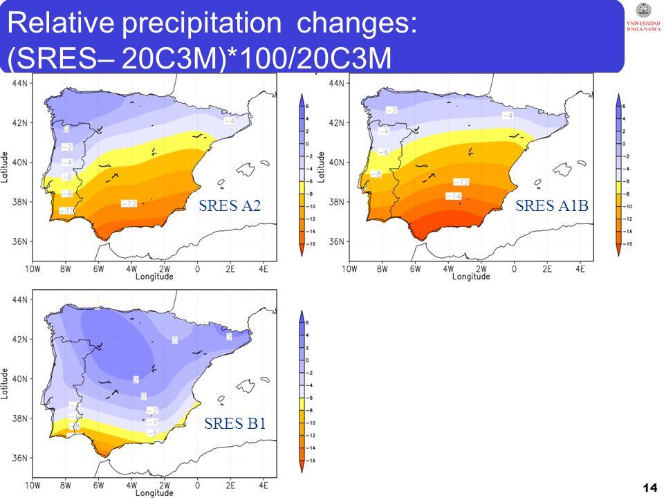 Relative precipitation changes: (SRES– 20C3M)*100/20C3M 14 SRES A2SRES A1B SRES B1