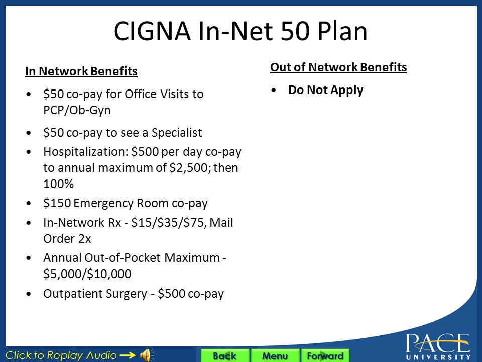 Medical Plans Choice of 4 Options with CIGNA HealthCare – CIGNA In-Net 50 Plan CIGNA In-Net 50 Plan – CIGNA In-Net 20 Plan CIGNA In-Net 20 Plan – CIGN