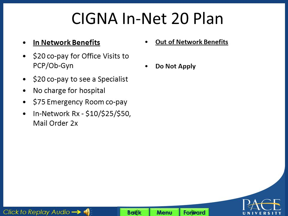 CIGNA In-Net 50 Plan In Network Benefits $50 co-pay for Office Visits to PCP/Ob-Gyn $50 co-pay to see a Specialist Hospitalization: $500 per day co-pa