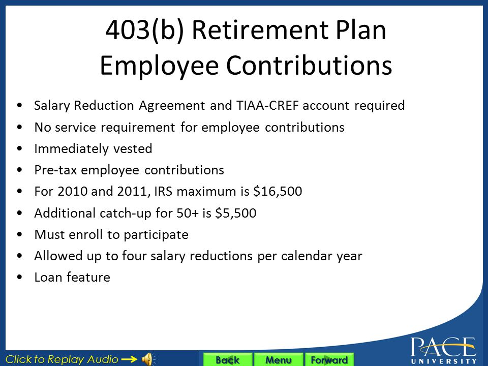 403(b) Retirement Plan Defined contribution plan administered by TIAA-CREF Employee contribution – tax deferred University contribution if eligible Fo