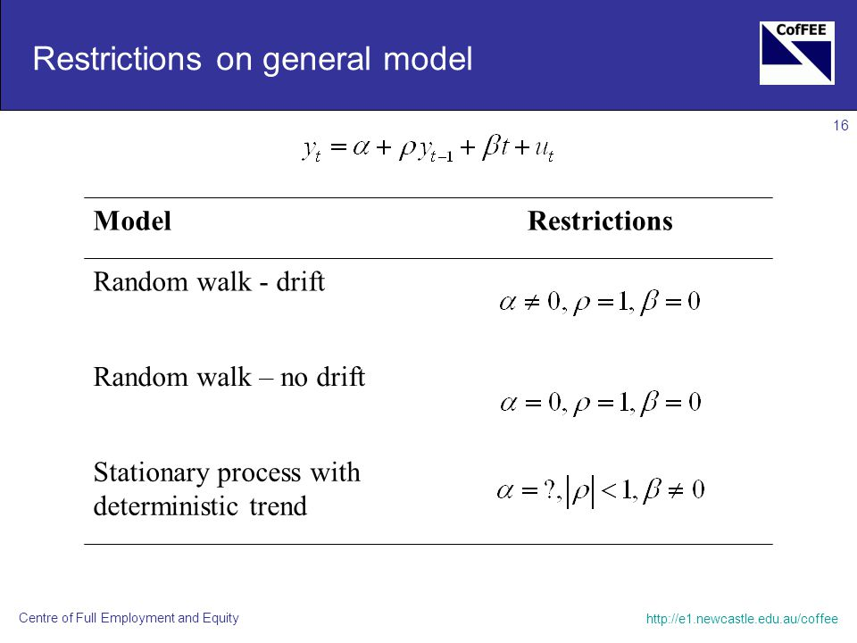Centre of Full Employment and Equity 16 Restrictions on general model ModelRestrictions Random walk - drift Random walk – no drift Stationary process with deterministic trend