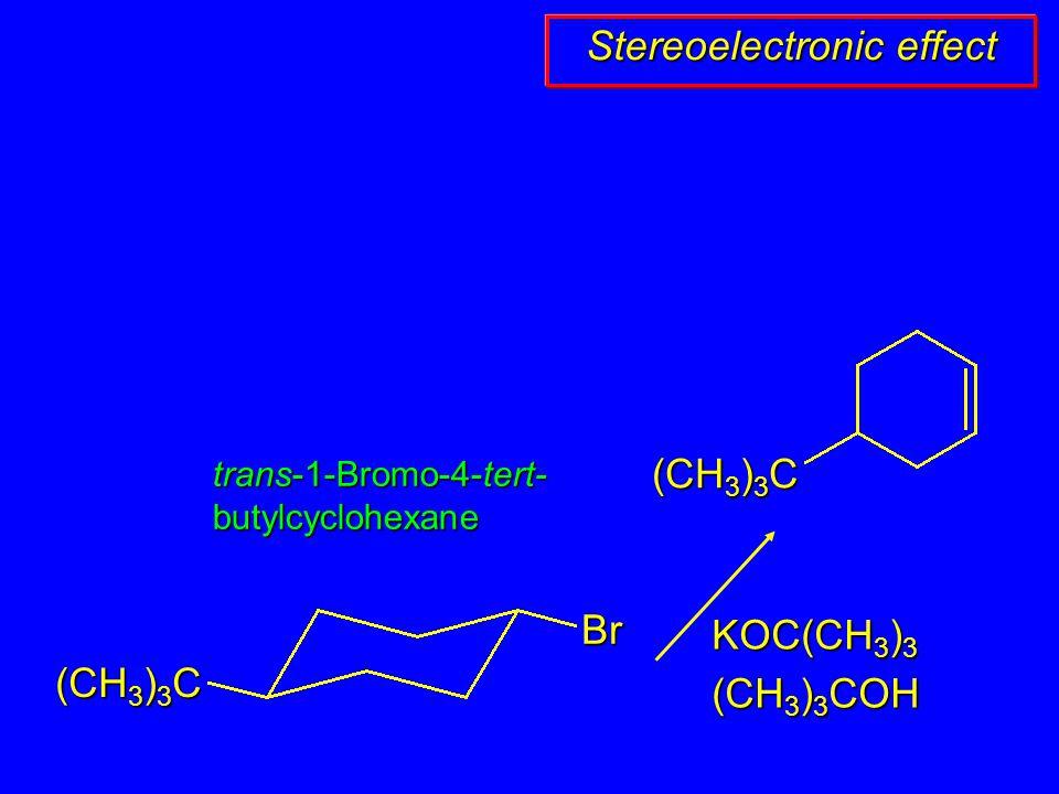 (CH 3 ) 3 C Br KOC(CH 3 ) 3 (CH 3 ) 3 COH trans-1-Bromo-4-tert- butylcyclohexane Stereoelectronic effect