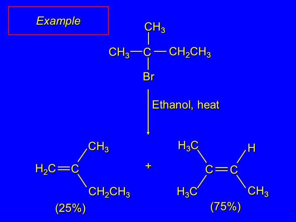 CH 3 CH 2 CH 3 Br CH 3 Ethanol, heat + (25%) (75%) C H3CH3CH3CH3C CH 3 C C H3CH3CH3CH3C H CH 2 CH 3 CH 3 C H2CH2CH2CH2C Example