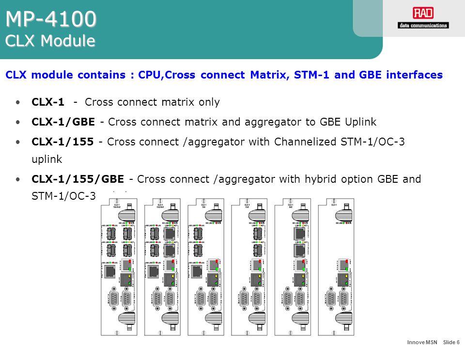 Innove MSN Slide 6 MP-4100 CLX Module CLX-1 - Cross connect matrix only CLX-1/GBE - Cross connect matrix and aggregator to GBE Uplink CLX-1/155 - Cross connect /aggregator with Channelized STM-1/OC-3 uplink CLX-1/155/GBE - Cross connect /aggregator with hybrid option GBE and STM-1/OC-3 uplink.