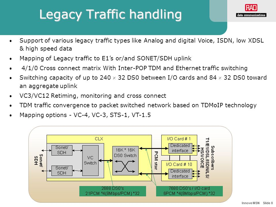 Innove MSN Slide 8 Legacy Traffic handling Support of various legacy traffic types like Analog and digital Voice, ISDN, low XDSL & high speed data Mapping of Legacy traffic to E1's or/and SONET/SDH uplink 4/1/0 Cross connect matrix With Inter-POP TDM and Ethernet traffic switching Switching capacity of up to 240  32 DS0 between I/O cards and 84  32 DS0 toward an aggregate uplink VC3/VC12 Retiming, monitoring and cross connect TDM traffic convergence to packet switched network based on TDMoIP technology Mapping options - VC-4, VC-3, STS-1, VT-1.5