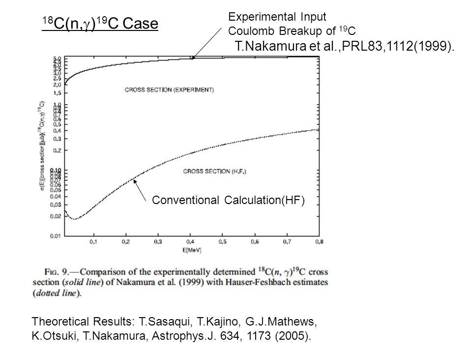 18 C(n,  ) 19 C Case Theoretical Results: T.Sasaqui, T.Kajino, G.J.Mathews, K.Otsuki, T.Nakamura, Astrophys.J.