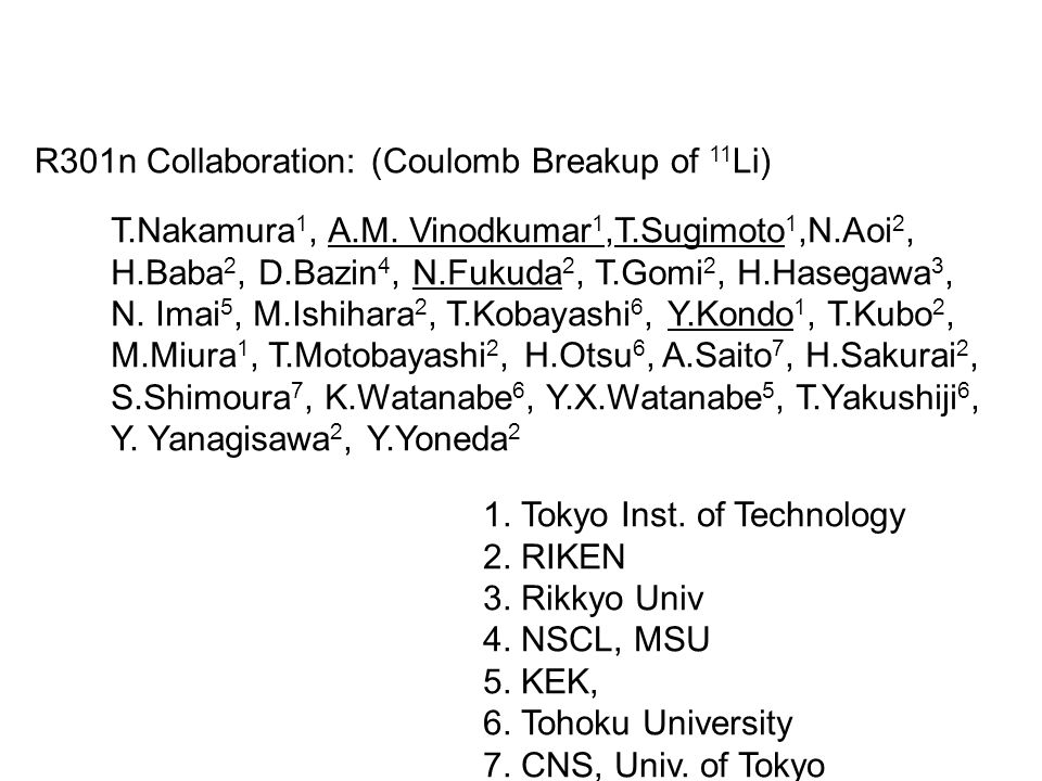 R301n Collaboration: (Coulomb Breakup of 11 Li) T.Nakamura 1, A.M.