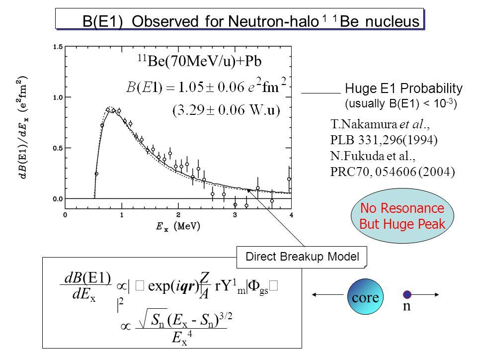 dB(E1) dE x  exp(iqr)| rY 1 m |  gs  | 2 Z A S n (E x - S n ) 3/2 Ex4Ex4  Huge E1 Probability (usually B(E1) < 10 -3 ) B(E1) Observed for Neutron-halo 11 Be nucleus core n T.Nakamura et al., PLB 331,296(1994) N.Fukuda et al., PRC70, 054606 (2004) Direct Breakup Model 11 Be(70MeV/u)+Pb No Resonance But Huge Peak