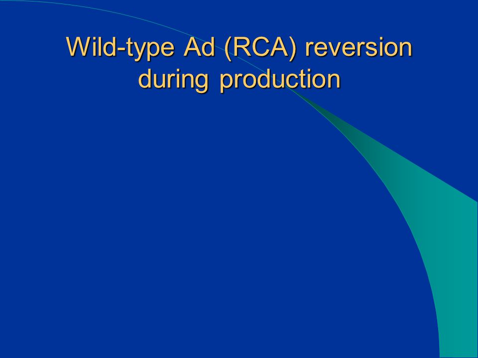 Wild-type Ad (RCA) reversion during production