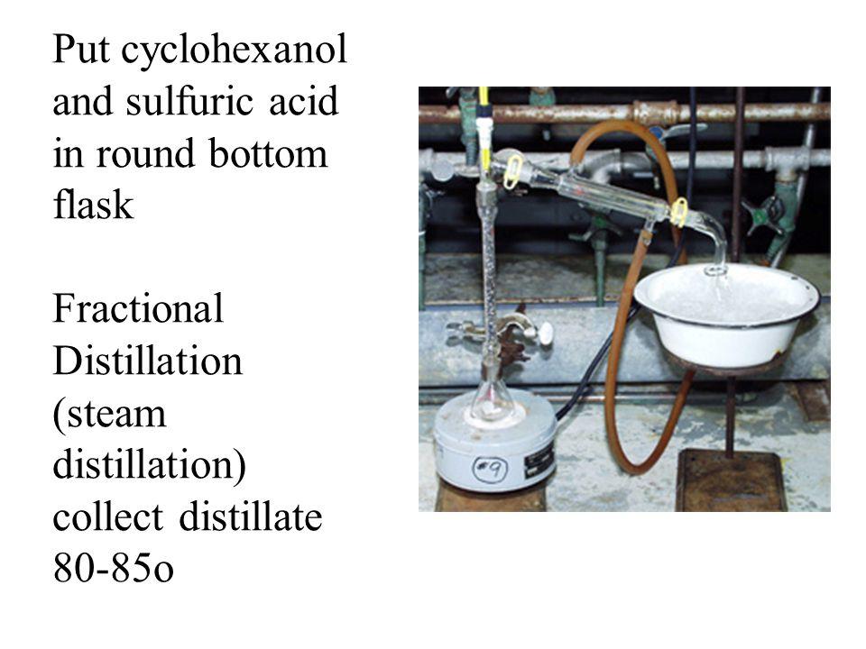 Put cyclohexanol and sulfuric acid in round bottom flask Fractional Distillation (steam distillation) collect distillate 80-85o Procedure
