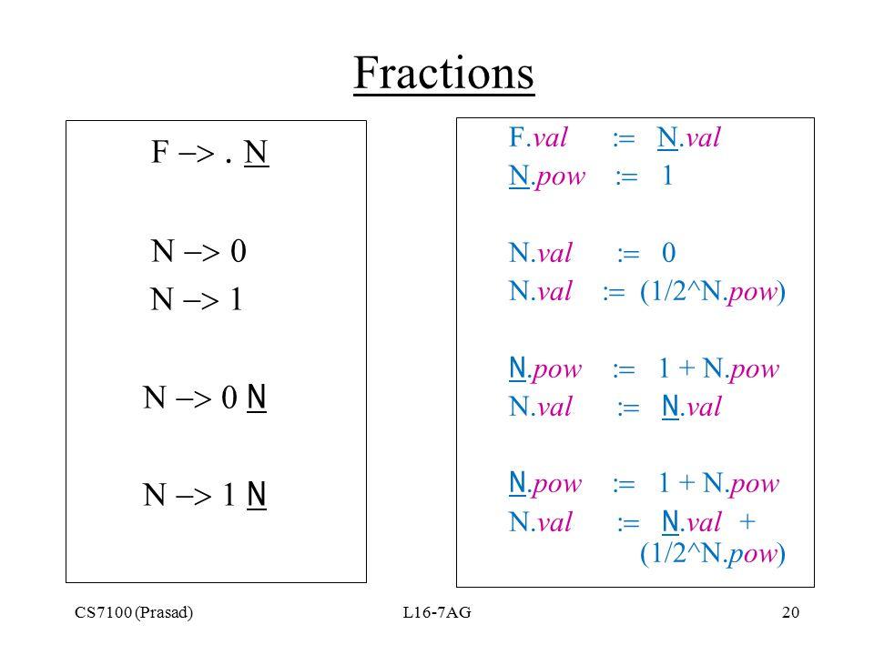 CS7100 (Prasad)L16-7AG20 Fractions F       N  N F.val  N.val N.pow  1 N.val 