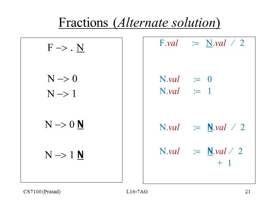CS7100 (Prasad)L16-7AG21 Fractions (Alternate solution) F       N  N F.val  N.val