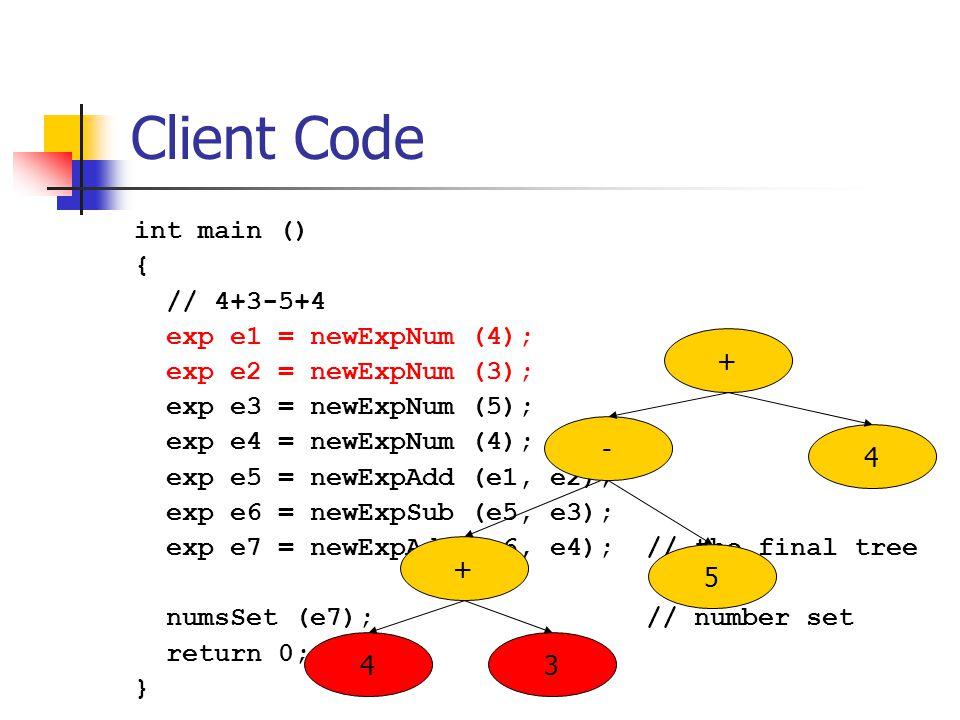 Client Code int main () { // 4+3-5+4 exp e1 = newExpNum (4); exp e2 = newExpNum (3); exp e3 = newExpNum (5); exp e4 = newExpNum (4); exp e5 = newExpAdd (e1, e2); exp e6 = newExpSub (e5, e3); exp e7 = newExpAdd (e6, e4); // the final tree numsSet (e7); // number set return 0; } 5 4 + 3 4 - +