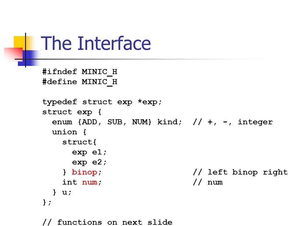 The Interface #ifndef MINIC_H #define MINIC_H typedef struct exp *exp; struct exp { enum {ADD, SUB, NUM} kind; // +, -, integer union { struct{ exp e1; exp e2; } binop; // left binop right int num; // num } u; }; // functions on next slide