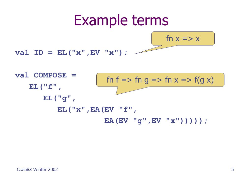 5Cse583 Winter 2002 Example terms val ID = EL(