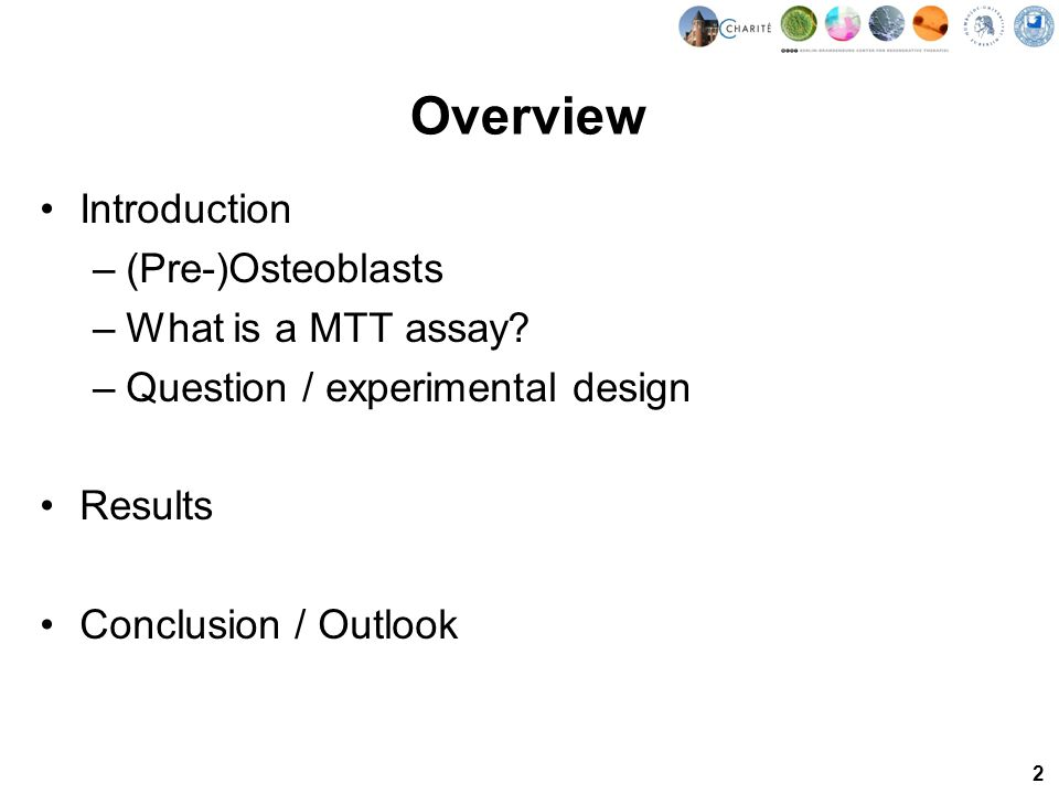 2 Overview Introduction –(Pre-)Osteoblasts –What is a MTT assay.