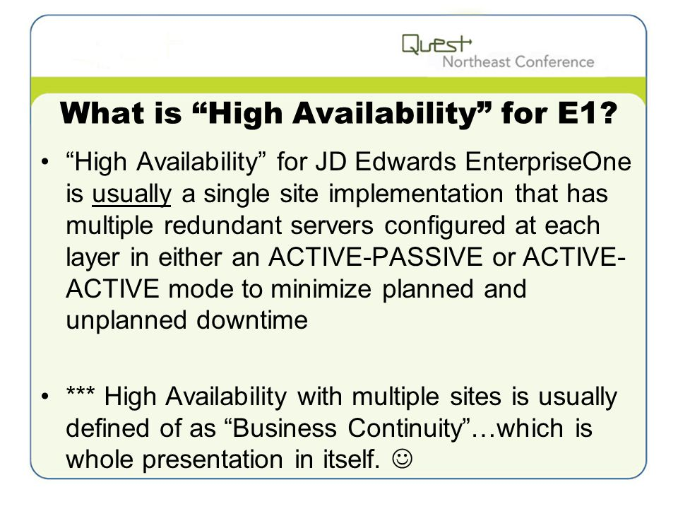 What is High Availability for E1.