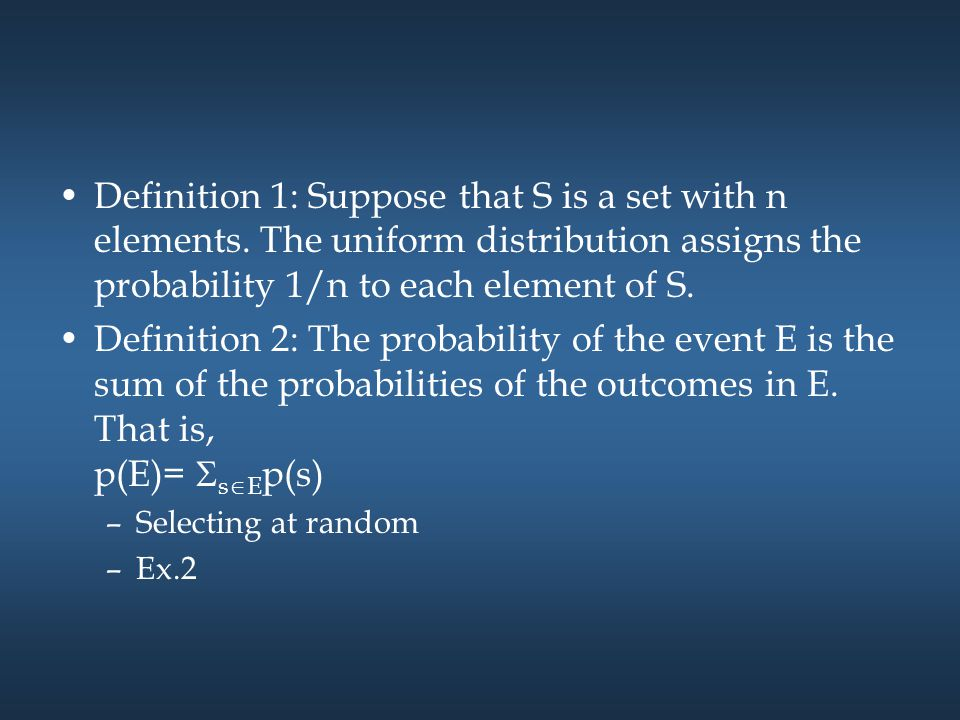 Combinations of events –The same as Sec.6.1 p(Ē) = 1 – p(E) p(E1  E2)=p(E1)+p(E2)-p(E1  E2) –Theorem 1: If E 1, E 2, … is a sequence of pairwise disjoint events in a sample space S, then p(  i E i )=  i p(E i ).