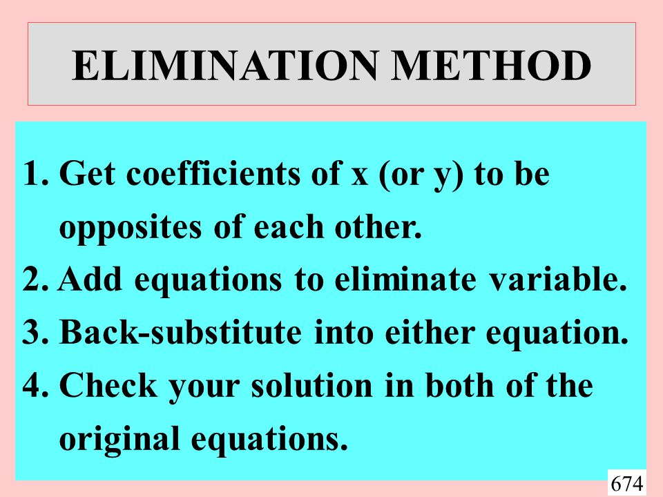 SUBSTITUTION: EXAMPLE 1 Solve x + y = 0 and x 3 - 5x - y = 0.