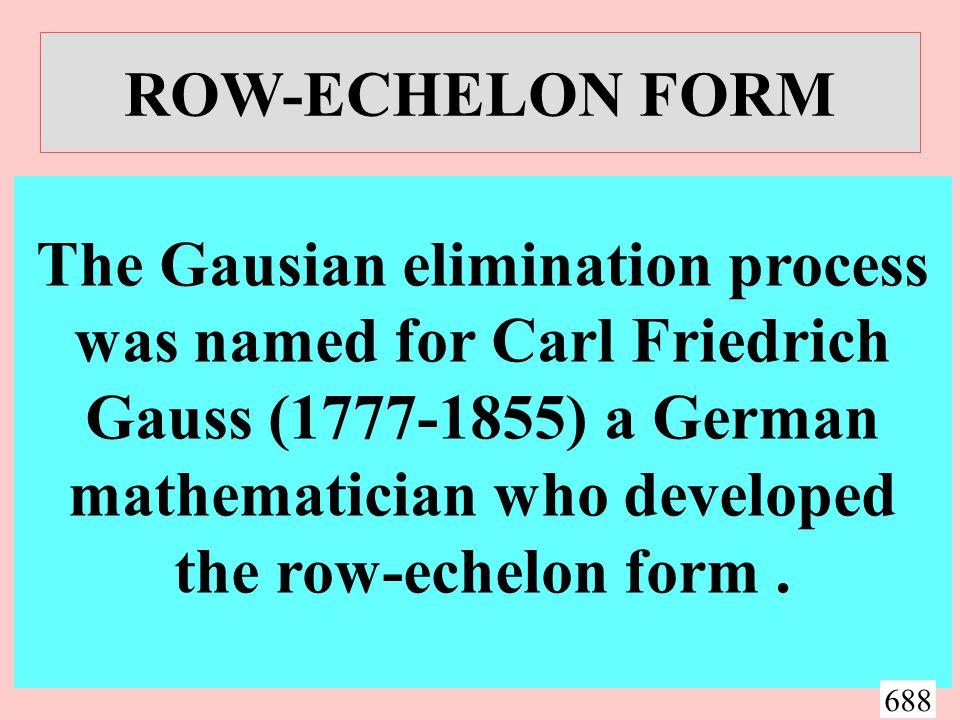 ROW-ECHELON FORM x - 2y + 3z = 9 -x + 3y = - 4 2x - 5y + 5z = 17 This system is in its original form.