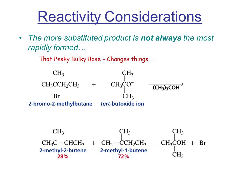 Reactivity Considerations The more substituted product is not always the most rapidly formed… That Pesky Bulky Base – Changes things……
