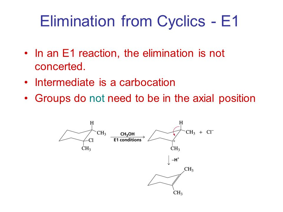 Elimination from Cyclics - E1 In an E1 reaction, the elimination is not concerted.