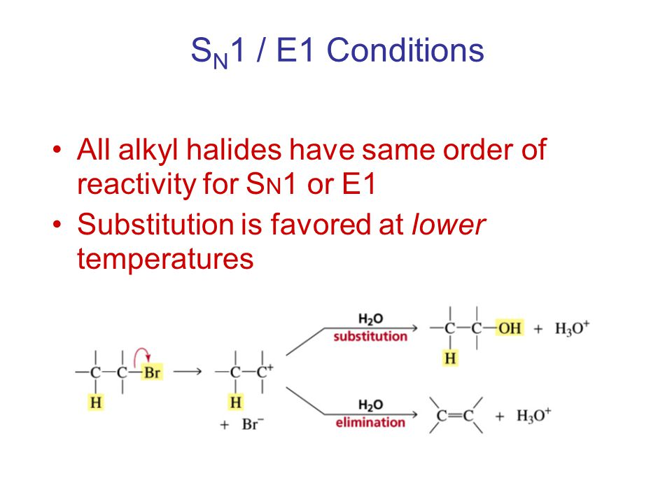 S N 1 / E1 Conditions All alkyl halides have same order of reactivity for S N 1 or E1 Substitution is favored at lower temperatures