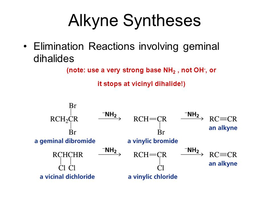 Alkyne Syntheses Elimination Reactions involving geminal dihalides (note: use a very strong base NH 2, not OH -, or it stops at vicinyl dihalide!)