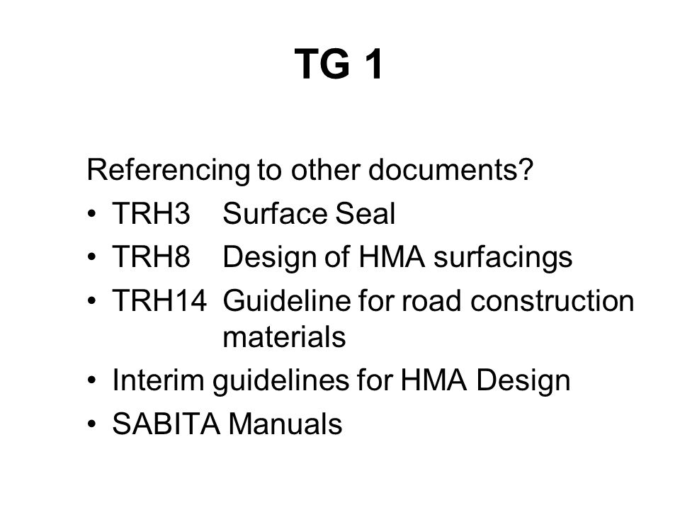 TG 1Table of contents 1INTRODUCTION 2.OCCUPATIONAL HEALTH, SAFETY AND THE ENVIRONMENT 2.1During manufacture of modified binders 2.1.1Modifiers 2.1.2Aromatic oils 2.1.3Adhesion agents 2.2During spraying operations 3COMPOSITION AND CHARACTERISTICS 3.1Composition of bitumen modifiers 3.1.1Homogeneous Binders 3.1.2Non-Homogeneous Binders 3.1.3Hydrocarbon Modifiers 3.1.4 F-T Waxes 3.2Behavioural Characteristics 3.2.1Elasticity 3.2.2Cohesion 3.2.3Adhesion 3.2.4Ageing and durability 3.3Use of cutters 3.3.1Factors affecting the cutting back of modified binders 4MANUFACTURE 4.1Homogeneous binders 4.1.1SBR modified bitumen 4.1.2SBS modified bitumen 4.1.3EVA 4.1.4Hydrocarbon modified binders 4.1.5 F – T Waxes 4.1.6General 4.2Non-homogeneous polymer modified binder 4.2.1 The Wet Method 4.2.2 The Dry Method 5MODIFIED BINDER CLASSIFICATION 6PRODUCT REQUIREMENTS 6.1Special Applications 6.1.1Modified emulsions for microsurfacings 6.1.2Hydrocarbon modified bitumen for high modulus asphalt 6.1.3Modified binders for fuel resistant surfacings 6.1.4Modified bitumen emulsion for tack coat 7SELECTION CRITERIA 7.1Surfacing Seal Applications 7.1.1Environmental influences during application 7.1.2Aggregate influences 7.1.3Substrate influences 7.1.4Project location and programming influences 7.1.5Traffic influences 7.1.6Design influences 7.1.7Selection guide 7.2Hot mix asphalt 7.2.1Resistance to permanent deformation (rutting) 7.2.2Cracking 7.2.3Mix type 7.2.4Design criteria 7.2.5Production criteria 8CONSTRUCTION 8.1Surface Seals 8.2Hot Mix Asphalt 9QUALITY ASSURANCE IN STORAGE AND HANDLING 9.1Heating of modified binders 9.1.1Hot-applied polymer modified binders 9.1.2Polymer modified emulsions 9.1.3Bitumen rubber 9.2Contamination 9.3Quality assurance 9.4Site quality control plan 10SAMPLING AND TESTING 10.1Sampling 10.1.1 Safety precautions 10.1.2 Monitoring of product during handling 10.1.3 Storage of samples 10.1.4 Sample preparation 10.2Testing of modified binders 10.3Asphalt mix design 11PR