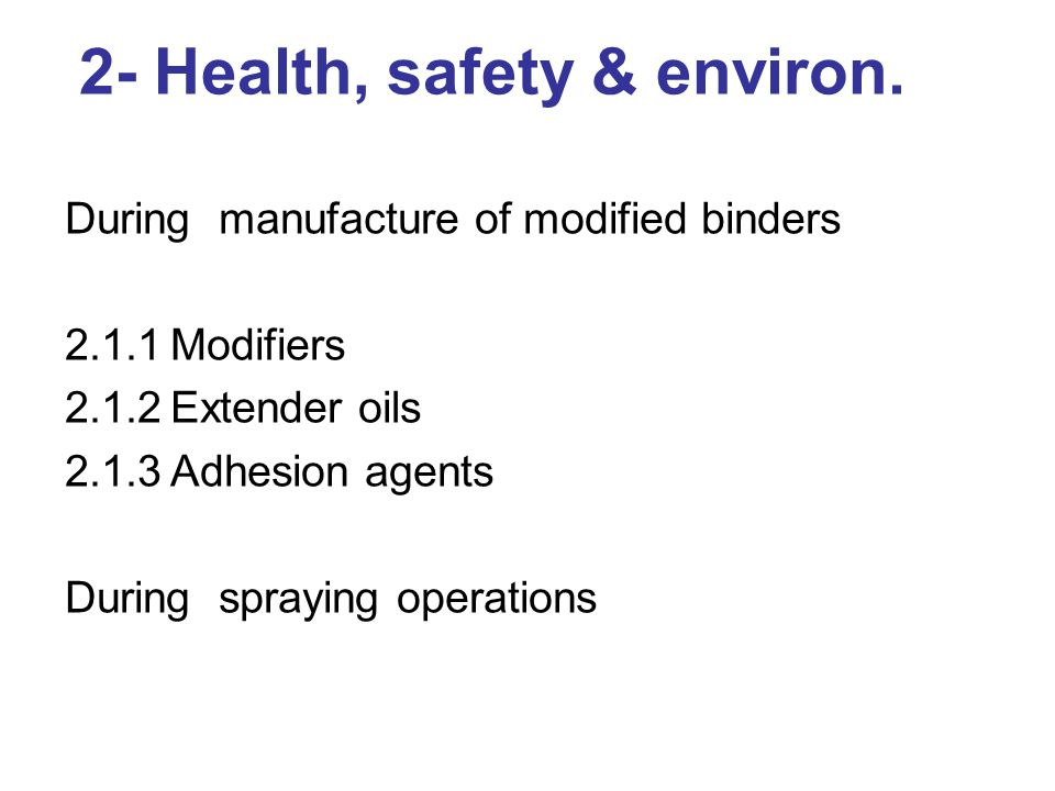 3 - Composition & characteristics 3.1Composition of bitumen modifiers 3.1.1Homogeneous Binders 3.1.2Non-Homogeneous Binders 3.1.3Hydrocarbon Modifiers 3.1.4 F-T Waxes 3.2Behavioural Characteristics 3.2.1Elasticity 3.2.2Cohesion 3.2.3Adhesion 3.2.4Ageing and durability 3.3 Use of cutters 3.3.1Factors affecting the cutting back of modified binders