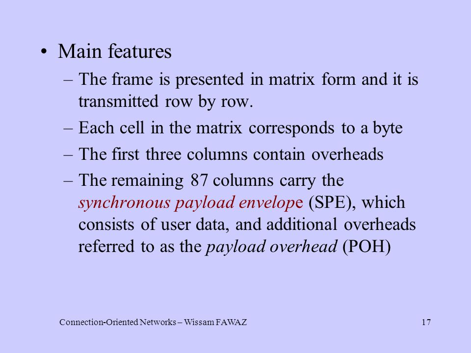 Connection-Oriented Networks – Wissam FAWAZ17 Main features –The frame is presented in matrix form and it is transmitted row by row.