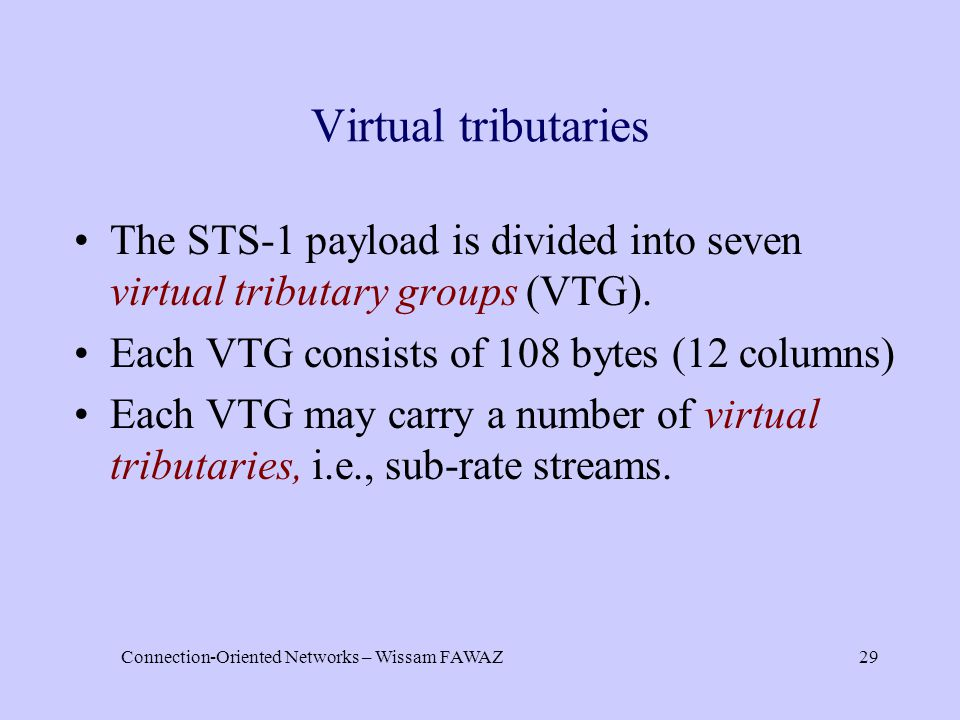 Connection-Oriented Networks – Wissam FAWAZ29 Virtual tributaries The STS-1 payload is divided into seven virtual tributary groups (VTG). Each VTG con
