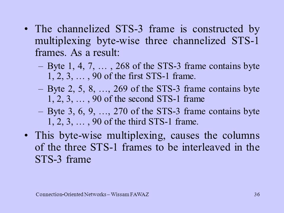 Connection-Oriented Networks – Wissam FAWAZ36 The channelized STS-3 frame is constructed by multiplexing byte-wise three channelized STS-1 frames.