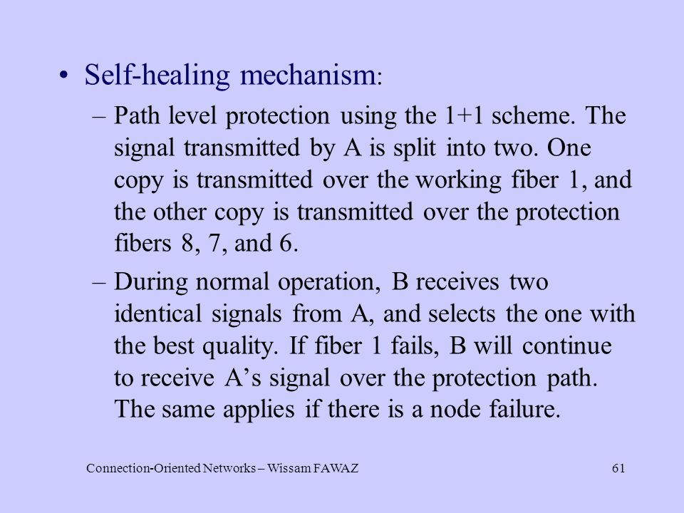 Connection-Oriented Networks – Wissam FAWAZ61 Self-healing mechanism : –Path level protection using the 1+1 scheme.