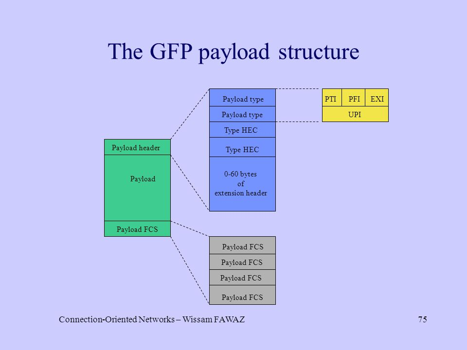 Connection-Oriented Networks – Wissam FAWAZ75 The GFP payload structure Payload header Payload Payload FCS Payload type Type HEC 0-60 bytes of extension header Payload FCS PTI UPI PFIEXI