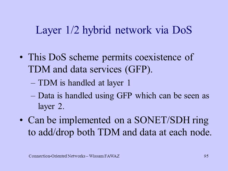Connection-Oriented Networks – Wissam FAWAZ95 Layer 1/2 hybrid network via DoS This DoS scheme permits coexistence of TDM and data services (GFP). –TD