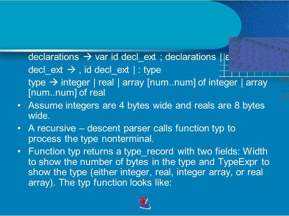 declarations  var id decl_ext ; declarations | ε decl_ext , id decl_ext | : type type  integer | real | array [num..num] of integer | array [num..num] of real Assume integers are 4 bytes wide and reals are 8 bytes wide.