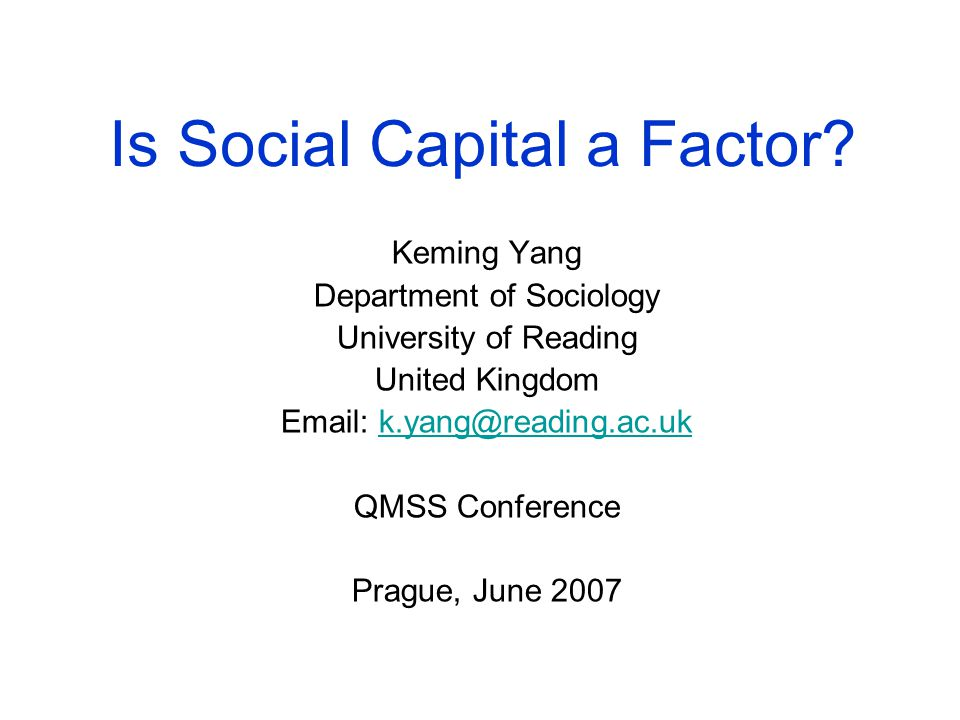 Is Social Capital a Factor.