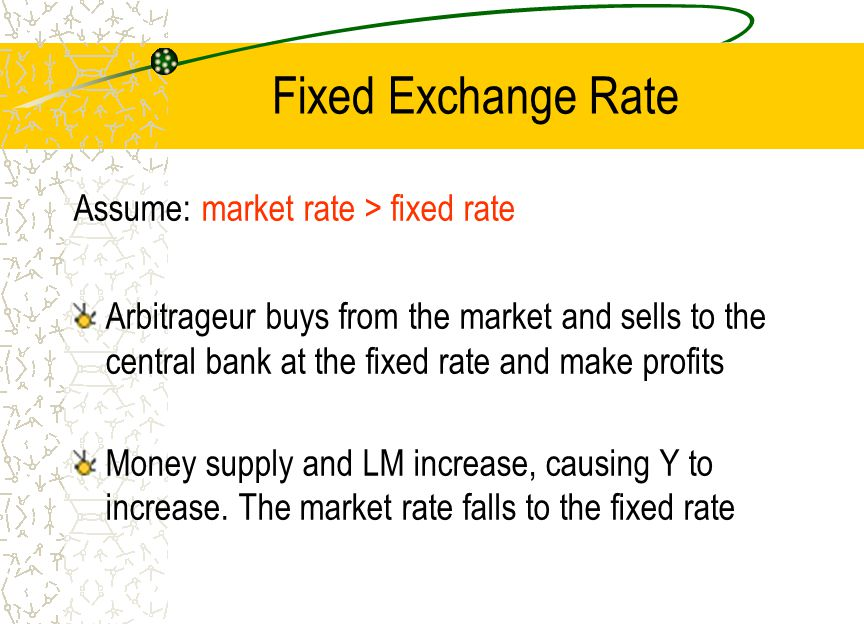 Fixed Exchange Rate Assume: market rate > fixed rate Arbitrageur buys from the market and sells to the central bank at the fixed rate and make profits Money supply and LM increase, causing Y to increase.