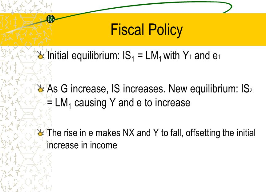 Fiscal Policy Initial equilibrium: IS 1 = LM 1 with Y 1 and e 1 As G increase, IS increases.
